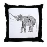 Black and white elephant Cotton Pillows