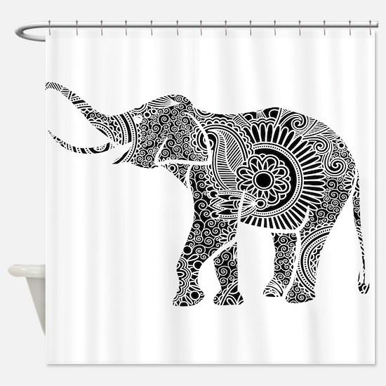 Cute Black white elephant Shower Curtain