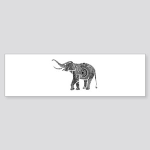 Black And White Ornate Floral Elephant Bumper Stic