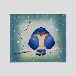 Blue Bird Winter Throw Blanket