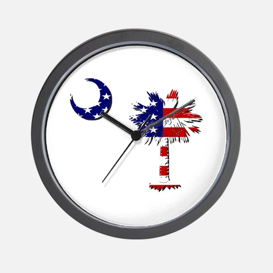 Red White and Blue Palmetto Wall Clock