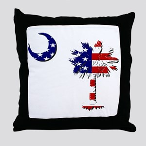 Red White and Blue Palmetto Throw Pillow