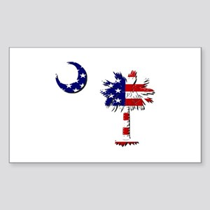 Red White and Blue Palmetto Rectangle Sticker