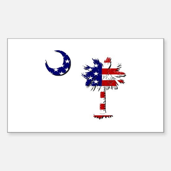 Red White and Blue Palmetto Rectangle Decal