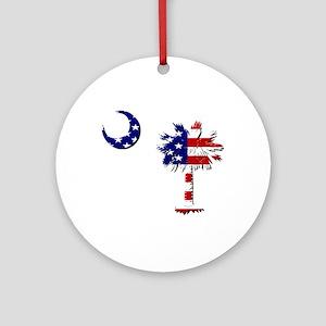 Red White and Blue Palmetto Ornament (Round)