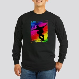 Rainbow Grunge Skateboarder Long Sleeve T-Shirt