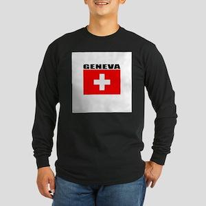 Geneva, Switzerland Long Sleeve Dark T-Shirt