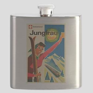 Swiss Ski Resort, Vintage Poster Flask