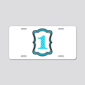 Number One Teal Black Aluminum License Plate