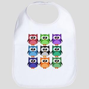 Rainbow of Cute Owls! Bib