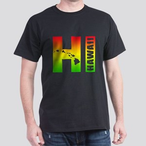 HI - Hawaii Rasta Surfer Colors Dark T-Shirt