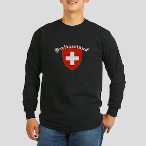 Switzerland Coat of Arms Long Sleeve Dark T-Shirt