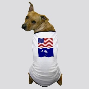 USA and SC Flags Dog T-Shirt