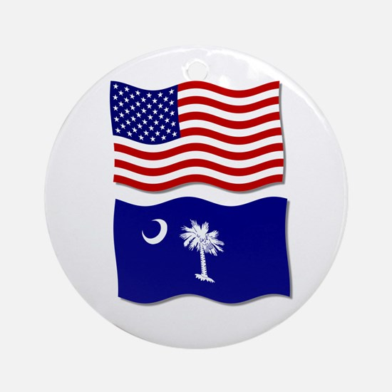 USA and SC Flags Ornament (Round)