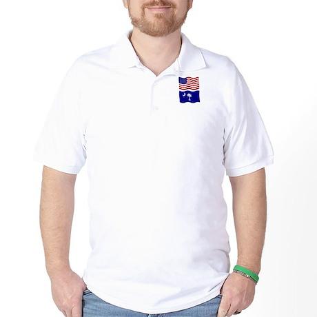 USA and SC Flags Golf Shirt
