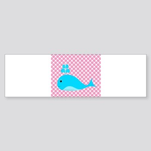 Blue Whale on Pink Dots Bumper Sticker