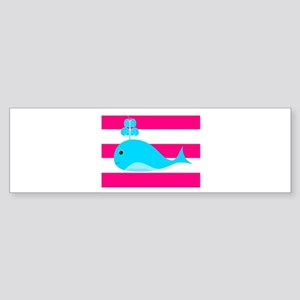 Blue Whale on Hot Pink Stripes Bumper Sticker