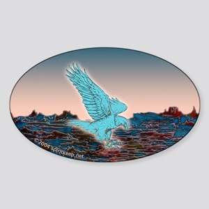 Turquoise Eagle At Dawn Oval Sticker