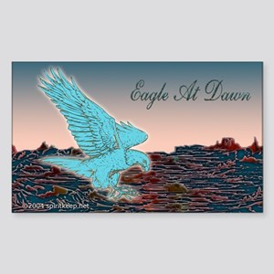 Turquoise Eagle At Dawn Sticker (Rect.)