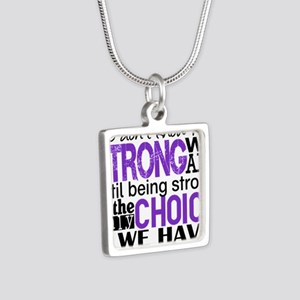 Pancreatic Cancer HowStron Silver Square Necklace
