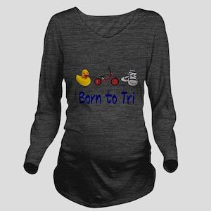 Born to Tri Long Sleeve Maternity T-Shirt