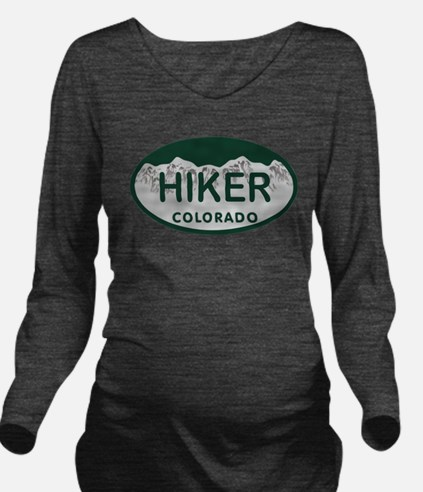 Hiker Colo License Plate Long Sleeve Maternity T-S