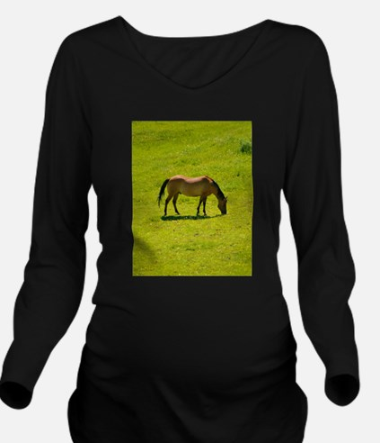 Horse in green field Long Sleeve Maternity T-Shirt