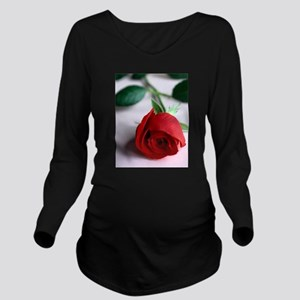 Red Rose Long Sleeve Maternity T-Shirt