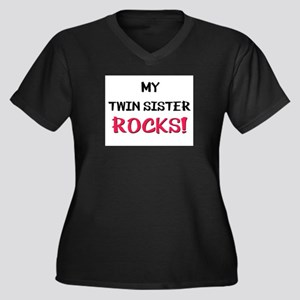 My TWIN SISTER ROCKS! Women's Plus Size V-Neck Dar