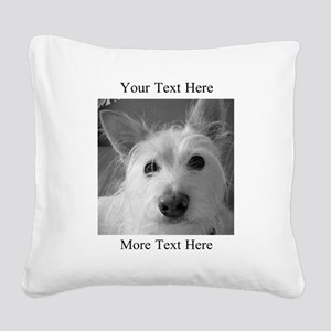 Your Text and Your Photo Here Square Canvas Pillow