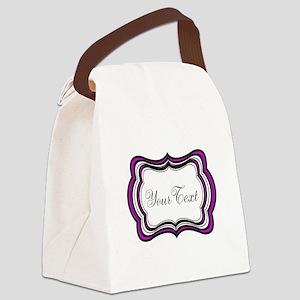 Personalizable Purple Black White Canvas Lunch Bag