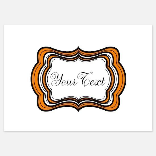 Personalizable Orange Black White Invitations