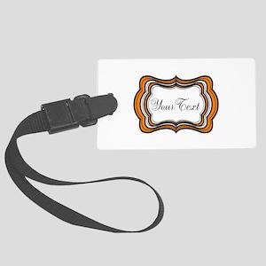 Personalizable Orange Black White Luggage Tag