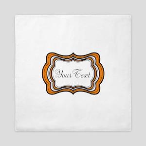 Personalizable Orange Black White Queen Duvet
