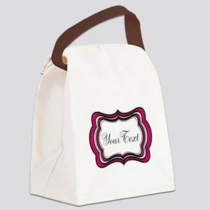 Personalizable Hot Pink Black White Canvas Lunch B