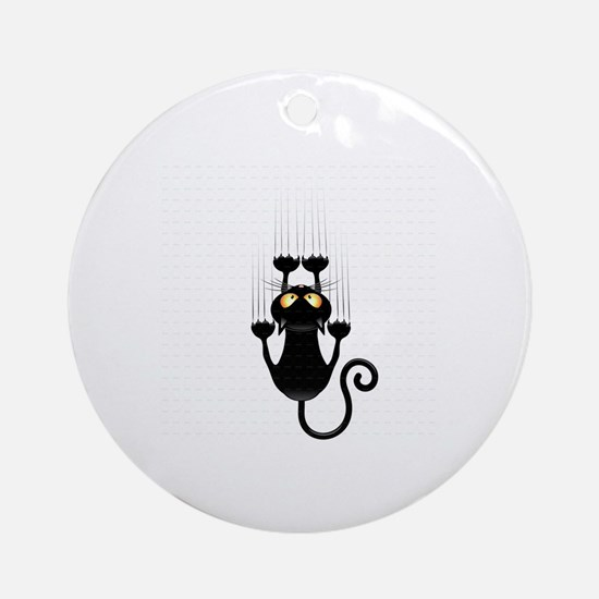 hang on baby black kitty cat kitten Round Ornament
