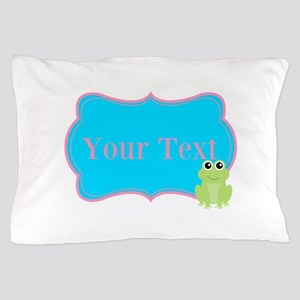 Personalizable Frog on Pink Teal Pillow Case