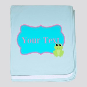 Personalizable Frog on Pink Teal baby blanket