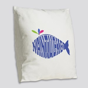 Cute Nantucket Whale Burlap Throw Pillow