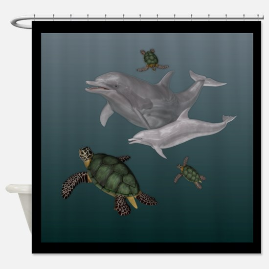 Dolphins and Turtles Shower Curtain