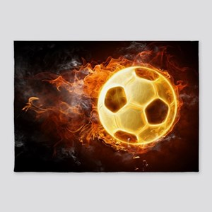 Fire Soccer Ball 5'x7'Area Rug