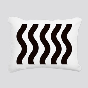 Black Wavy Stripes Rectangular Canvas Pillow