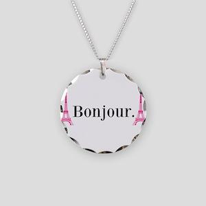Bonjour Hot Pink Black Eiffel Tower Necklace