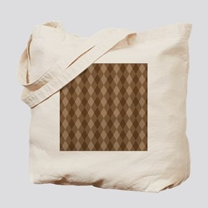 Warm Brown Diamond Pattern Tote Bag