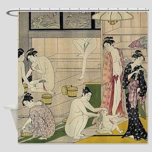 Torii Kiyonaga Bathhouse Women Shower Curtain