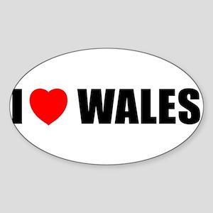 I Love Wales Oval Sticker