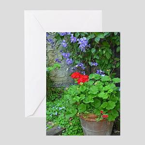 Clematis and geranium garden Greeting Card