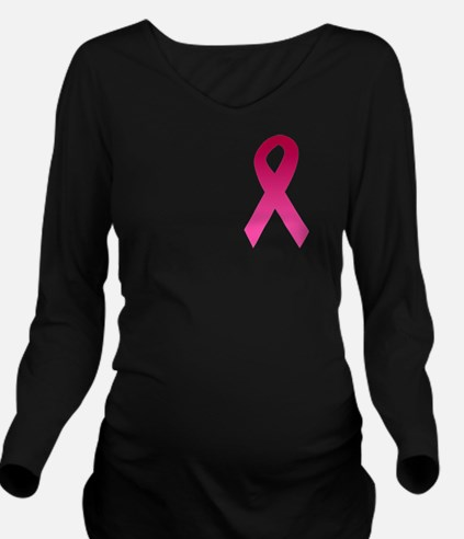 Breast Cancer Pink Ribbon Long Sleeve Maternity T-