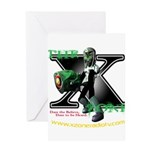 The X-Zone Alien_Green wGun Greeting Cards