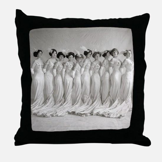 Elegant Evening Gowns, 1910 Throw Pillow